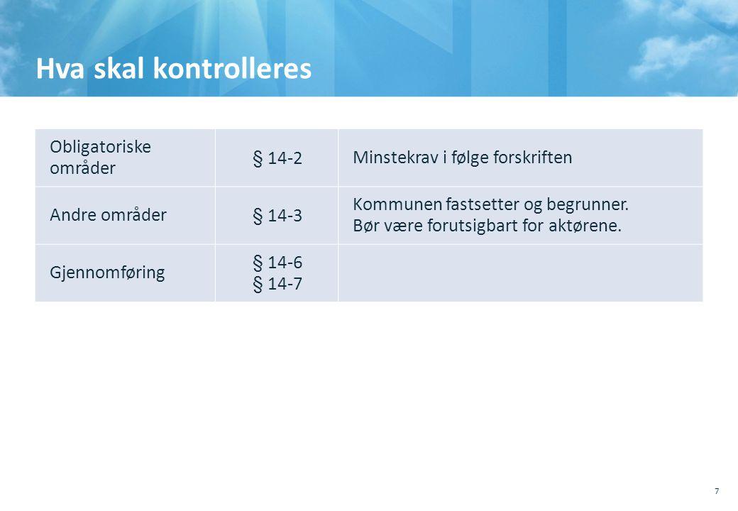 Hva skal kontrolleres Obligatoriske områder § 14-2