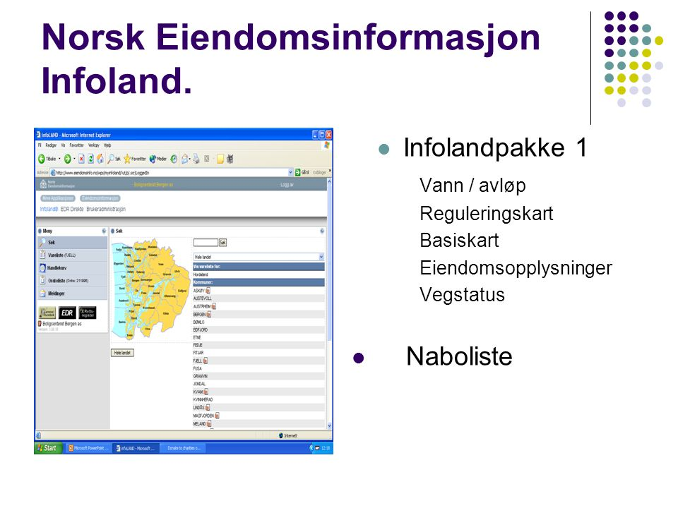 Norsk Eiendomsinformasjon Infoland.