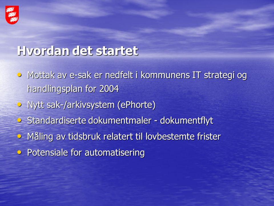 Hvordan det startet Mottak av e-sak er nedfelt i kommunens IT strategi og handlingsplan for 2004. Nytt sak-/arkivsystem (ePhorte)