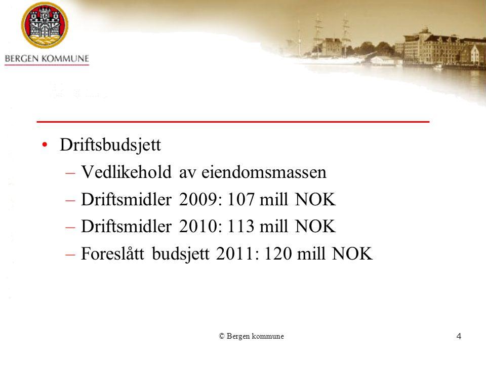 Vedlikehold av eiendomsmassen Driftsmidler 2009: 107 mill NOK