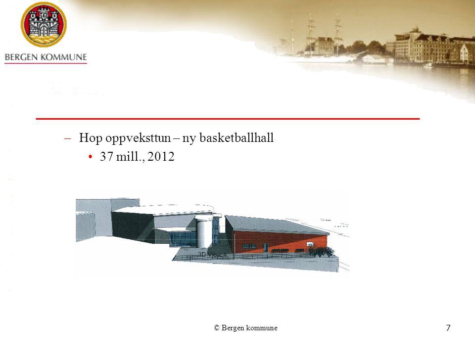 Hop oppveksttun – ny basketballhall 37 mill., 2012