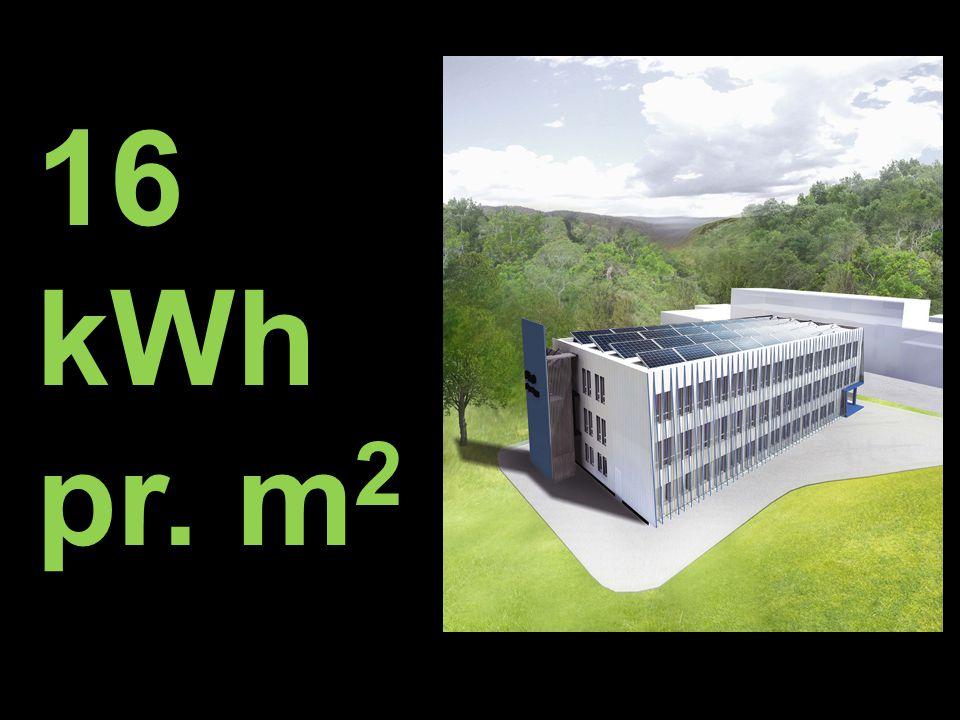 16 kWh pr. m2 Prosjektets beregninger viser at det nye bygget vil få et energiforbruk på ca.
