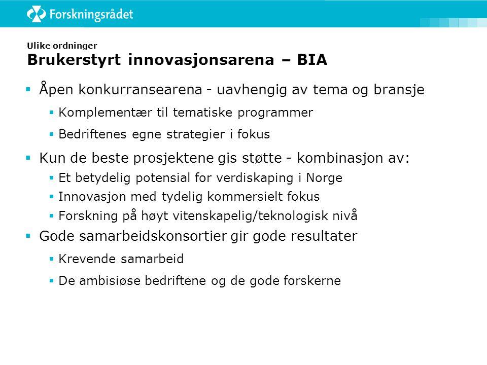 Ulike ordninger Brukerstyrt innovasjonsarena – BIA