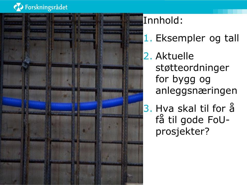 Innhold: Eksempler og tall. Aktuelle støtteordninger for bygg og anleggsnæringen.