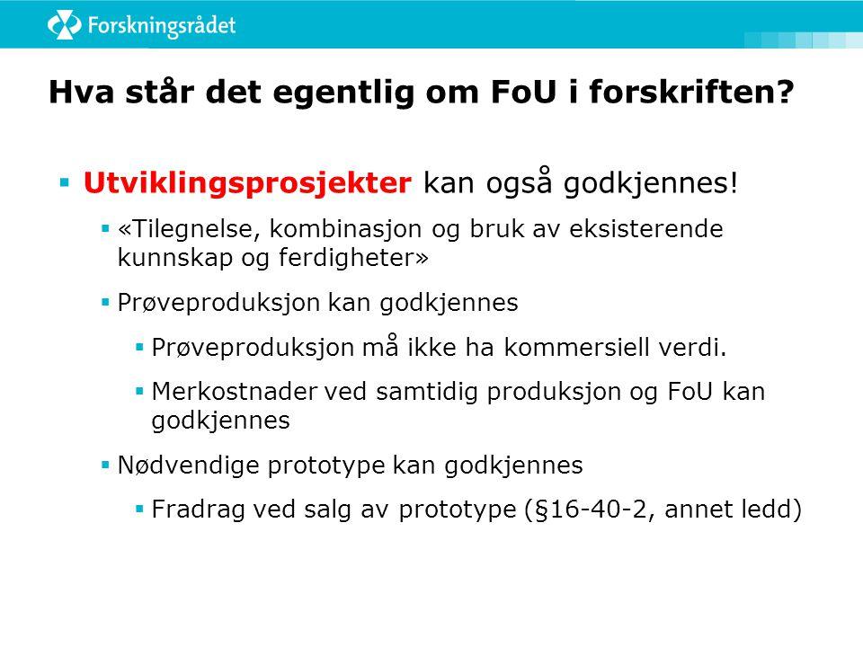 Hva står det egentlig om FoU i forskriften