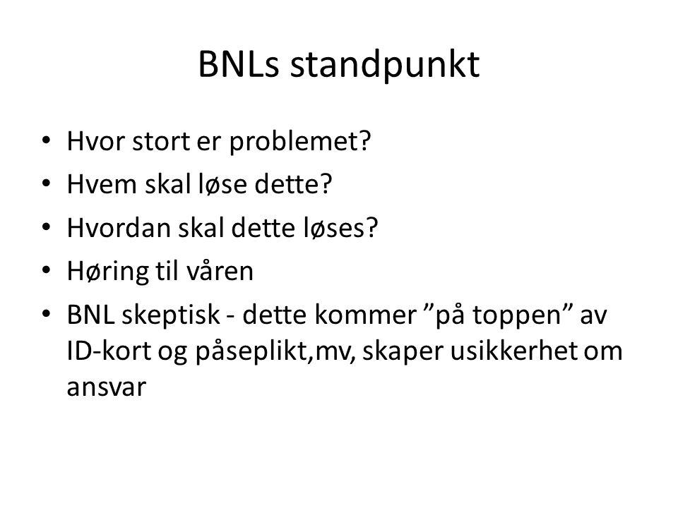 BNLs standpunkt Hvor stort er problemet Hvem skal løse dette