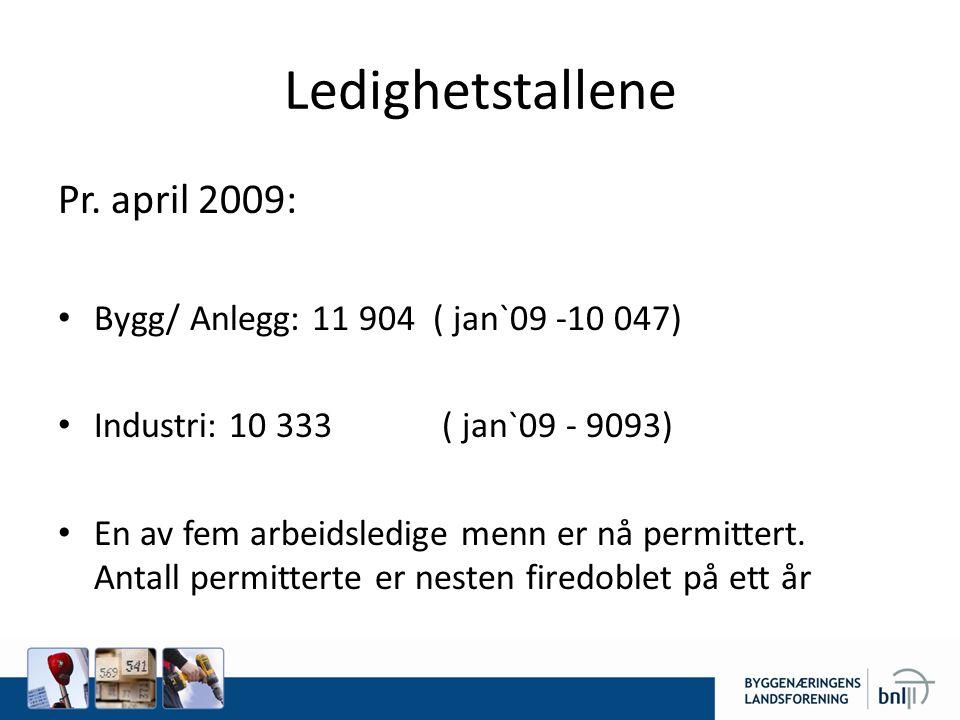 Ledighetstallene Pr. april 2009:
