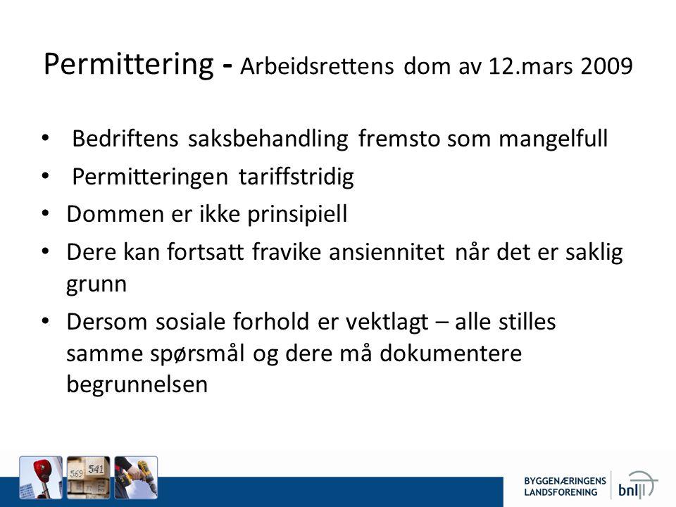 Permittering - Arbeidsrettens dom av 12.mars 2009