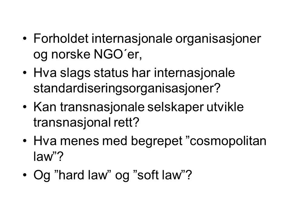 Forholdet internasjonale organisasjoner og norske NGO´er,