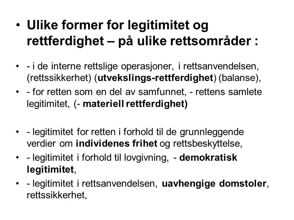 Ulike former for legitimitet og rettferdighet – på ulike rettsområder :