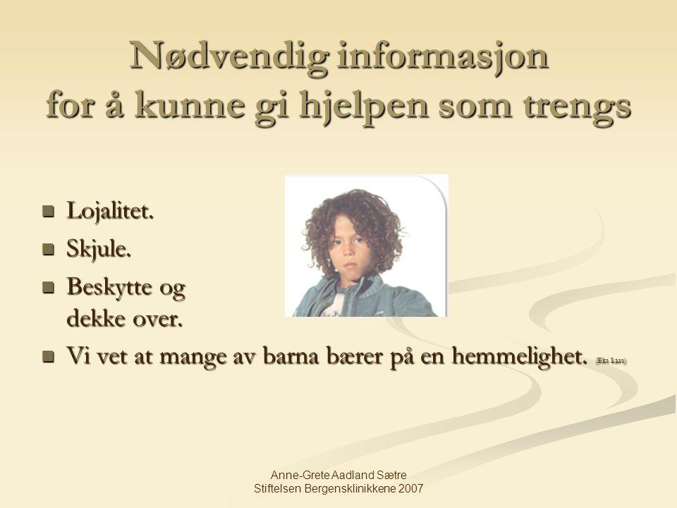 Nødvendig informasjon for å kunne gi hjelpen som trengs
