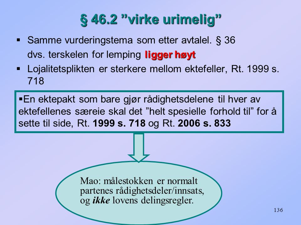 § 46.2 virke urimelig Samme vurderingstema som etter avtalel. § 36