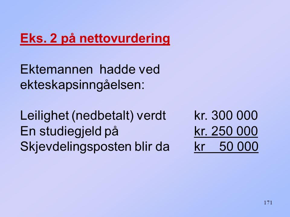Eks. 2 på nettovurdering Ektemannen hadde ved ekteskapsinngåelsen: Leilighet (nedbetalt) verdt kr. 300 000.