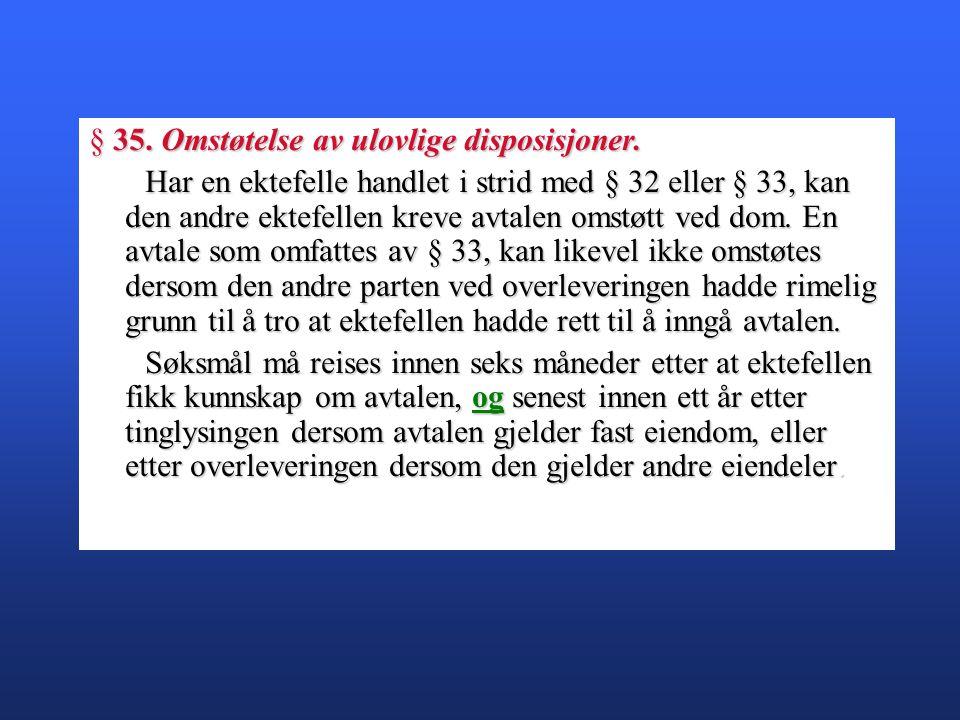 § 35. Omstøtelse av ulovlige disposisjoner.