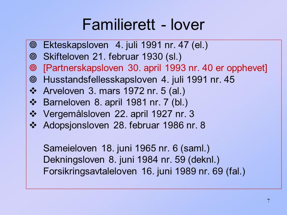 Familierett - lover Ekteskapsloven 4. juli 1991 nr. 47 (el.)