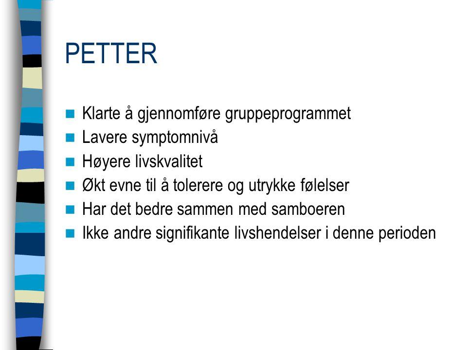 PETTER Klarte å gjennomføre gruppeprogrammet Lavere symptomnivå