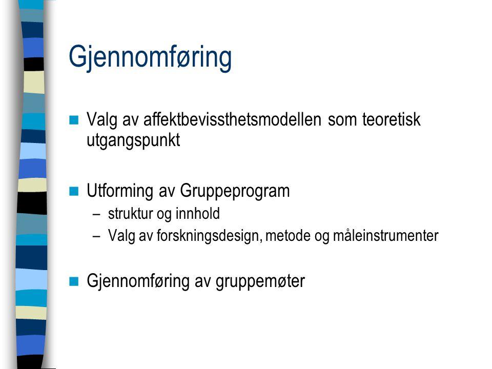 Gjennomføring Valg av affektbevissthetsmodellen som teoretisk utgangspunkt. Utforming av Gruppeprogram.