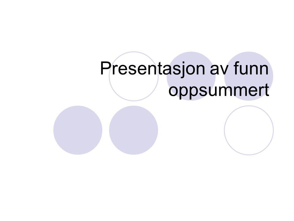 Presentasjon av funn oppsummert
