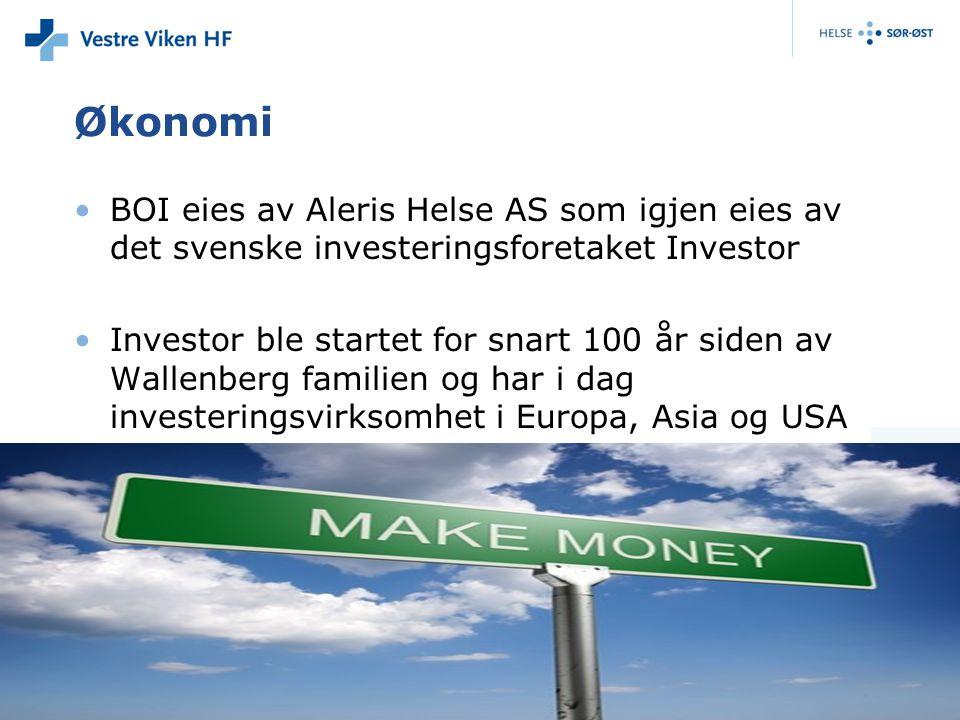 Økonomi BOI eies av Aleris Helse AS som igjen eies av det svenske investeringsforetaket Investor.