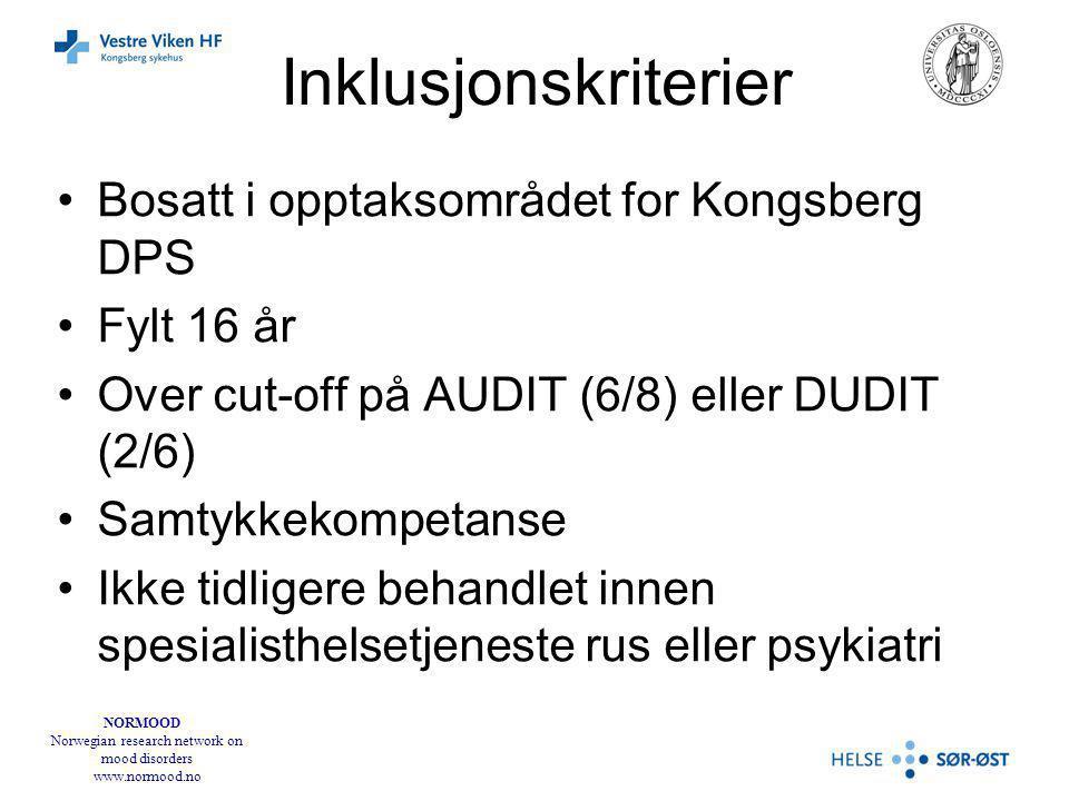 Inklusjonskriterier Bosatt i opptaksområdet for Kongsberg DPS