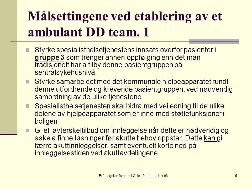 Målsettingene ved etablering av et ambulant DD team. 1