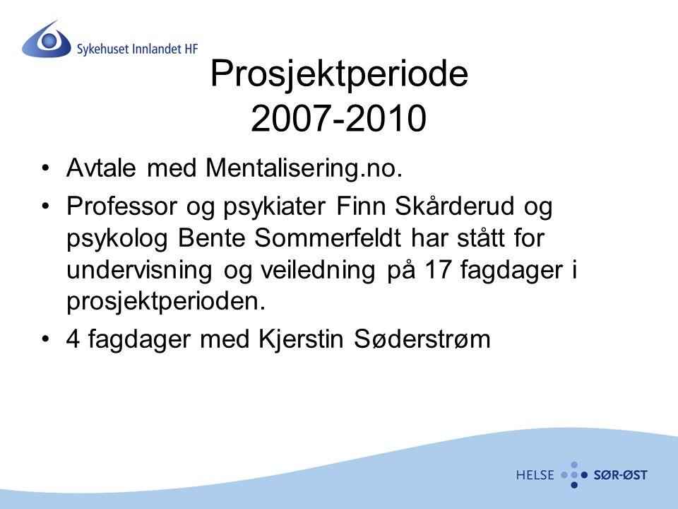 Prosjektperiode 2007-2010 Avtale med Mentalisering.no.