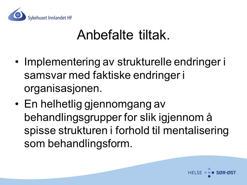 Anbefalte tiltak. Implementering av strukturelle endringer i samsvar med faktiske endringer i organisasjonen.