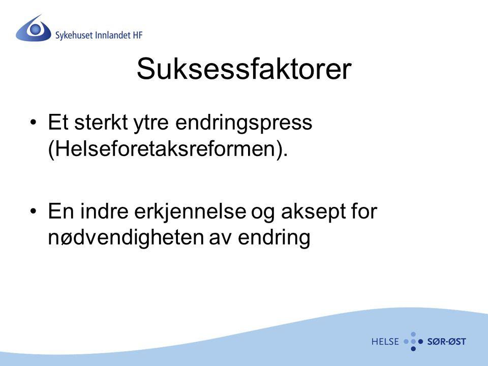 Suksessfaktorer Et sterkt ytre endringspress (Helseforetaksreformen).