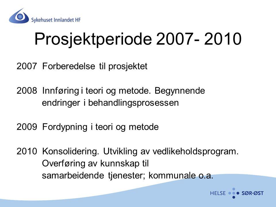 Prosjektperiode 2007- 2010 2007 Forberedelse til prosjektet