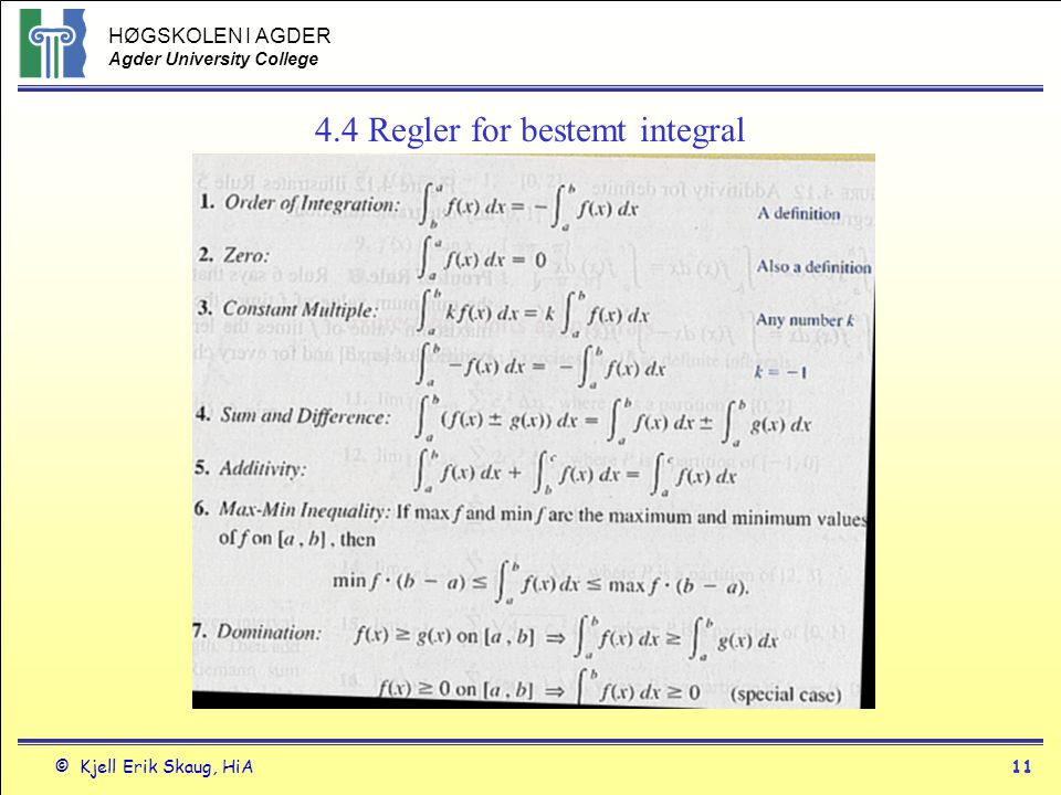 4.4 Regler for bestemt integral