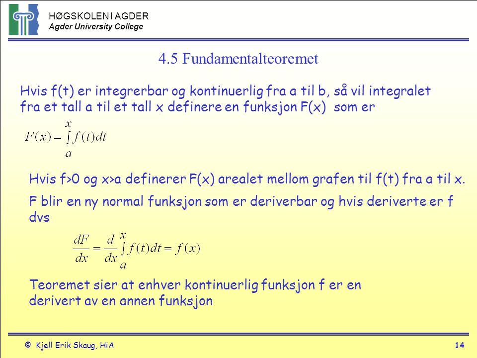 4.5 Fundamentalteoremet Hvis f(t) er integrerbar og kontinuerlig fra a til b, så vil integralet.