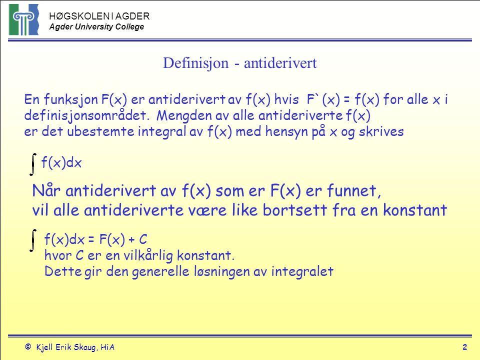 Definisjon - antiderivert