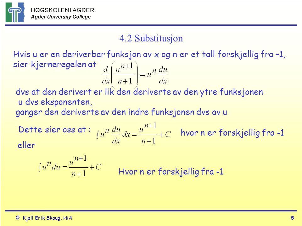 4.2 Substitusjon Hvis u er en deriverbar funksjon av x og n er et tall forskjellig fra –1, sier kjerneregelen at.
