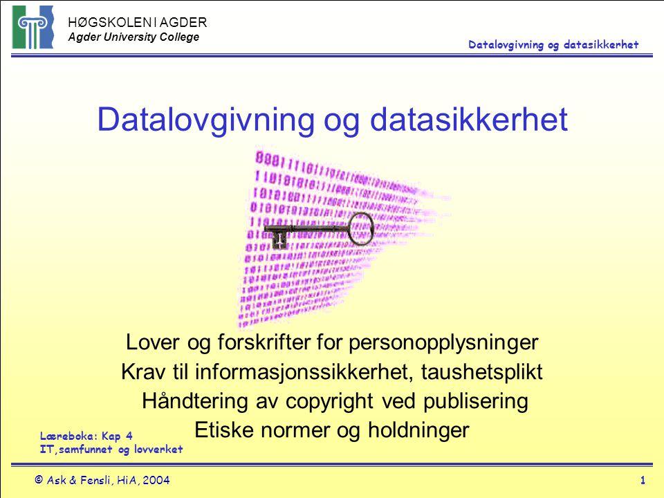 Datalovgivning og datasikkerhet
