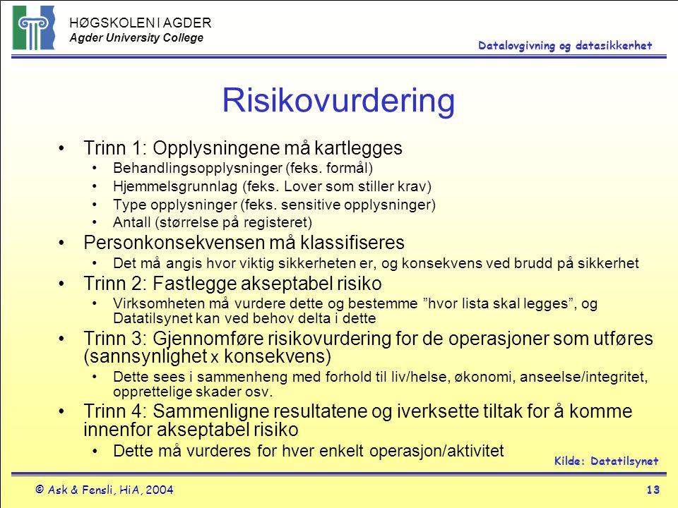 Risikovurdering Trinn 1: Opplysningene må kartlegges