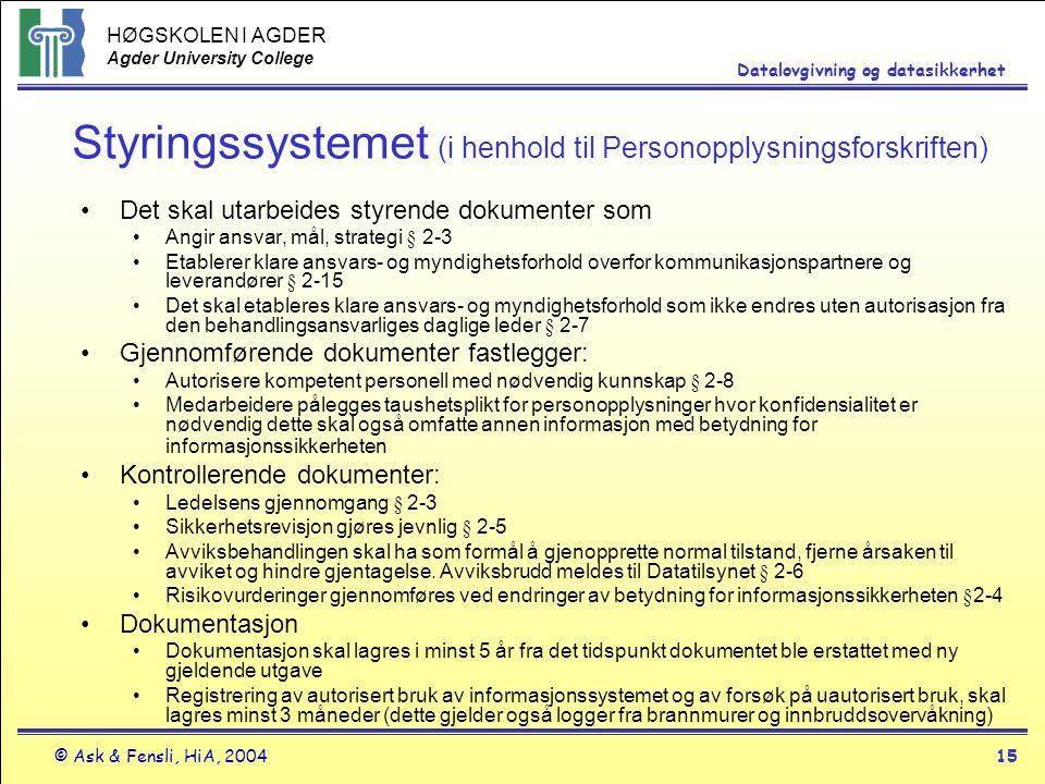 Styringssystemet (i henhold til Personopplysningsforskriften)