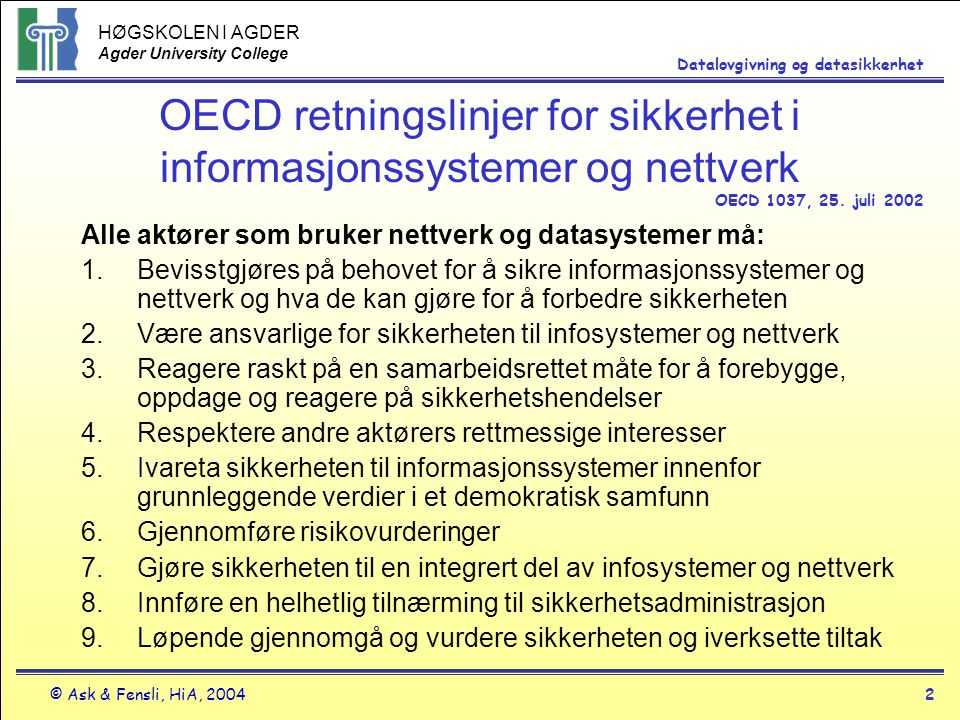 OECD retningslinjer for sikkerhet i informasjonssystemer og nettverk