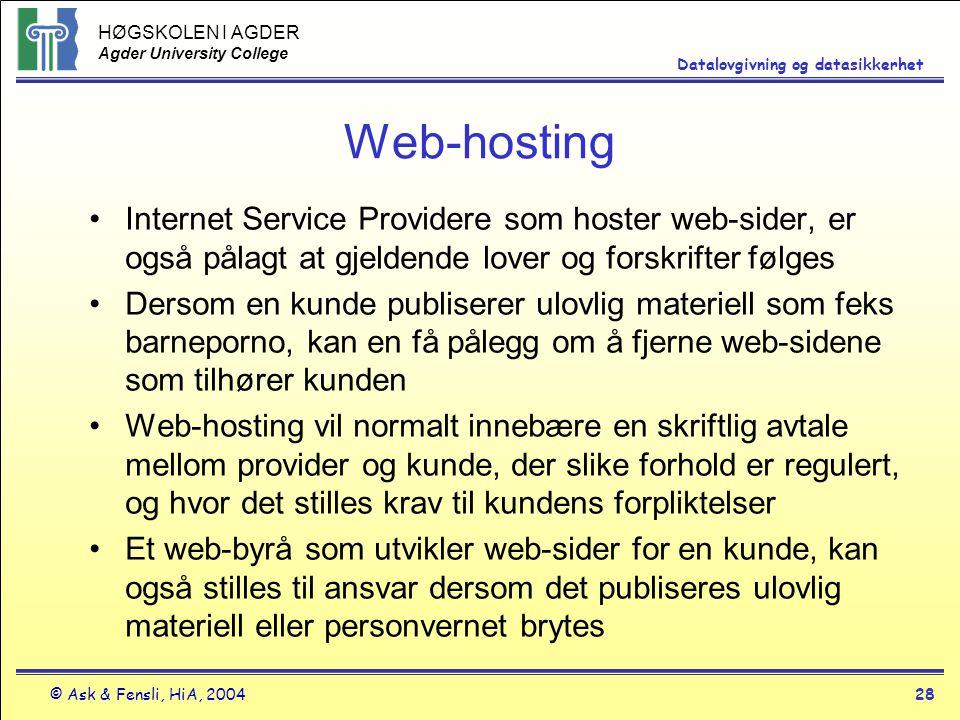 Web-hosting Internet Service Providere som hoster web-sider, er også pålagt at gjeldende lover og forskrifter følges.