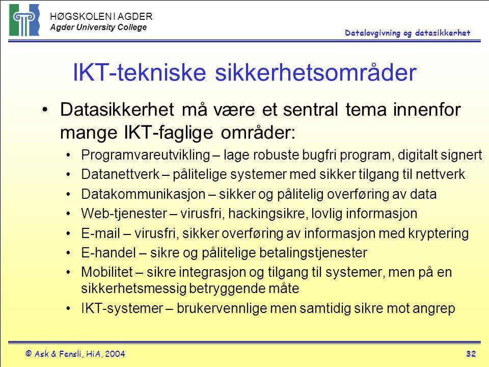 IKT-tekniske sikkerhetsområder