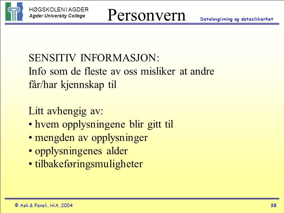 Personvern SENSITIV INFORMASJON: