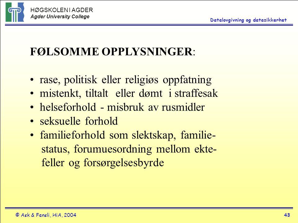 FØLSOMME OPPLYSNINGER: