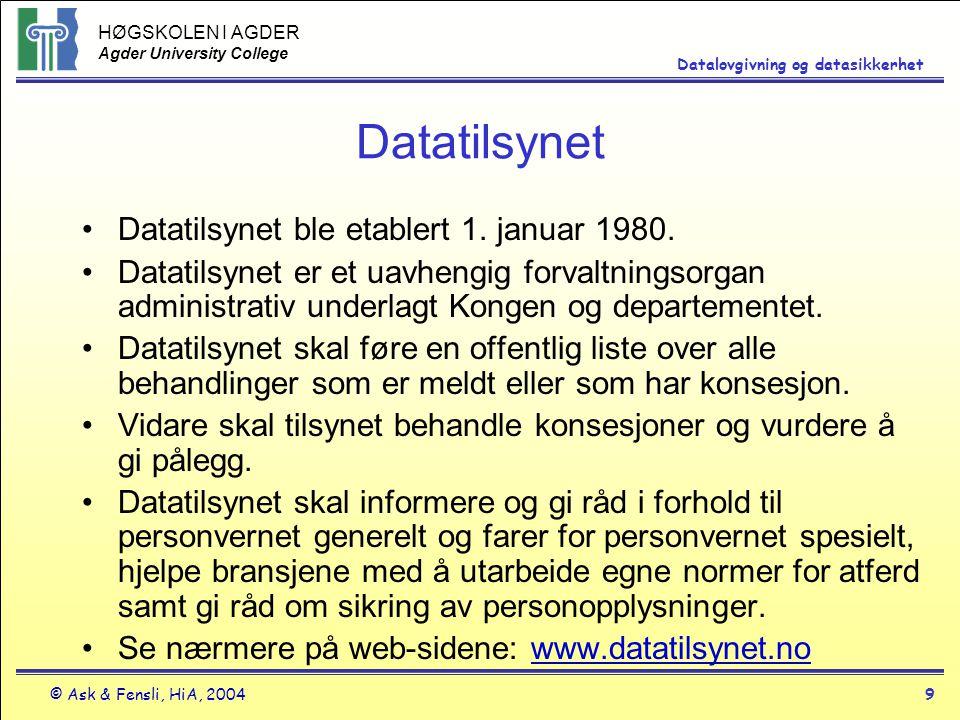 Datatilsynet Datatilsynet ble etablert 1. januar 1980.