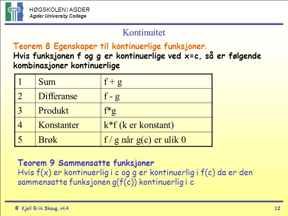 Kontinuitet 1 Sum f + g 2 Differanse f - g 3 Produkt f*g 4 Konstanter