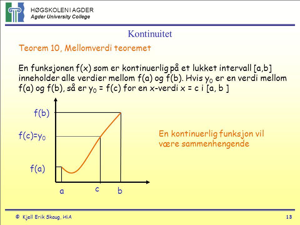Kontinuitet Teorem 10, Mellomverdi teoremet