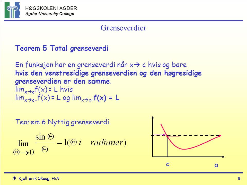 Grenseverdier Teorem 5 Total grenseverdi