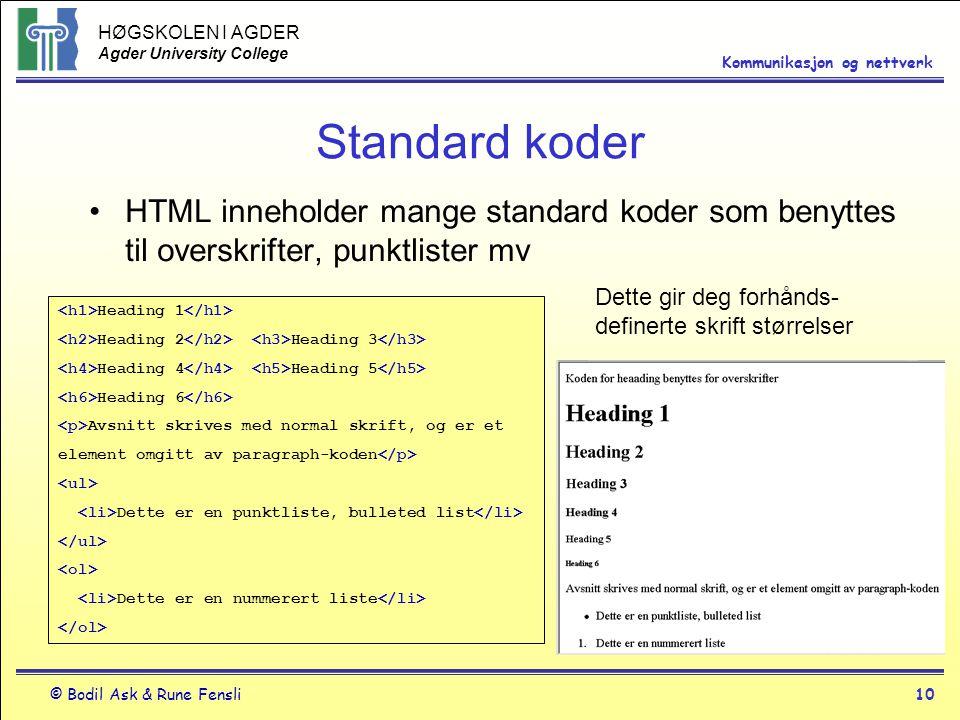 Standard koder HTML inneholder mange standard koder som benyttes til overskrifter, punktlister mv.