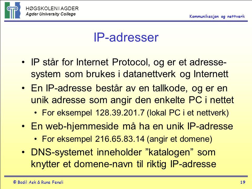 IP-adresser IP står for Internet Protocol, og er et adresse-system som brukes i datanettverk og Internett.