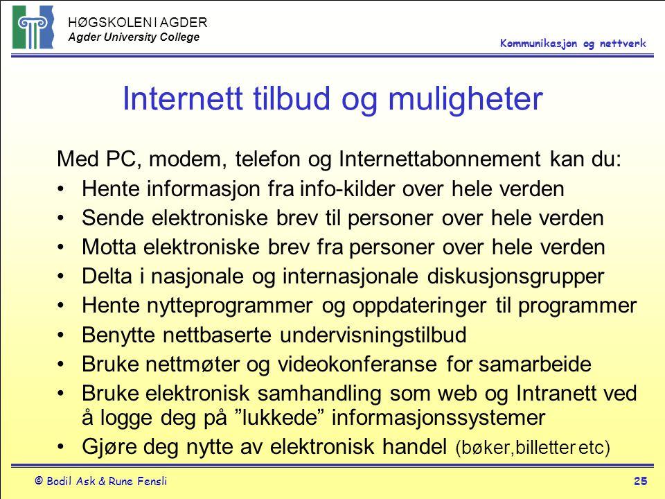 Internett tilbud og muligheter