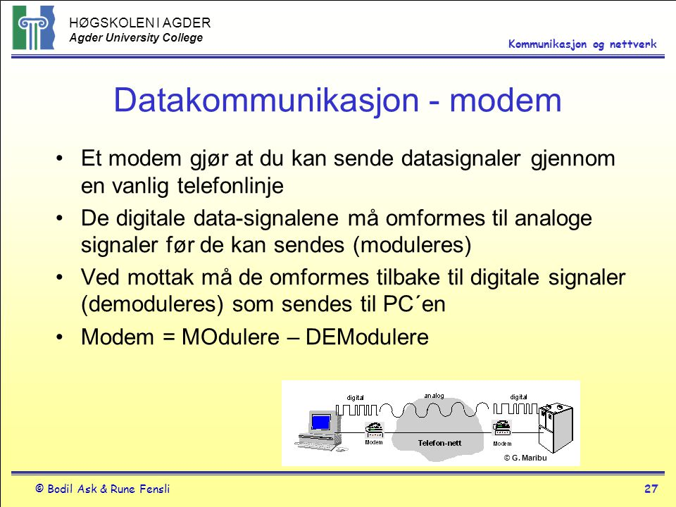 Datakommunikasjon - modem