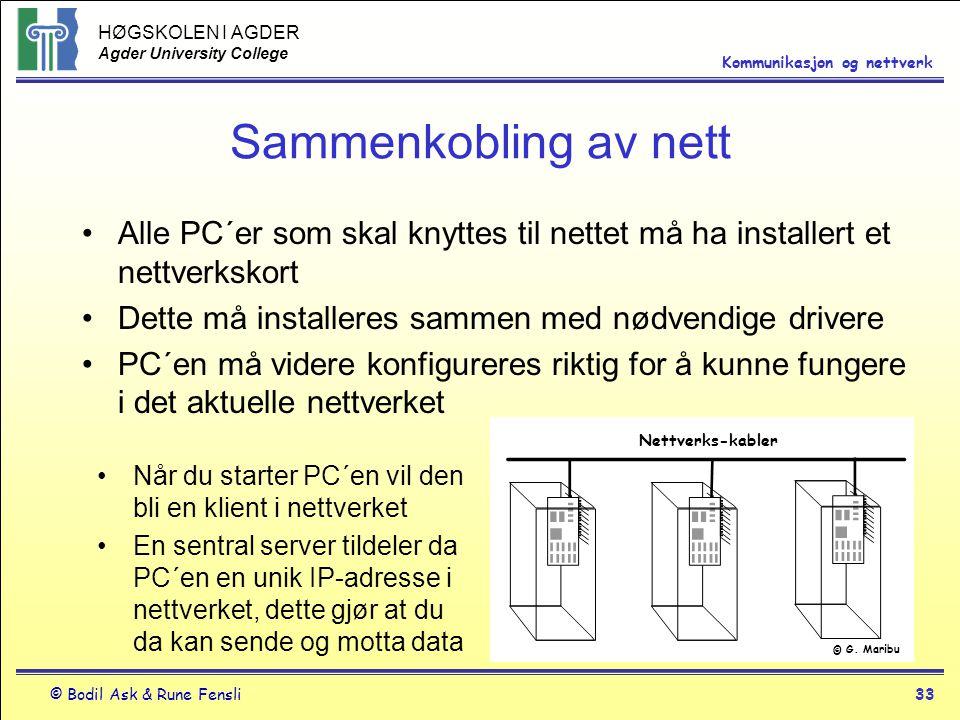 Sammenkobling av nett Alle PC´er som skal knyttes til nettet må ha installert et nettverkskort. Dette må installeres sammen med nødvendige drivere.